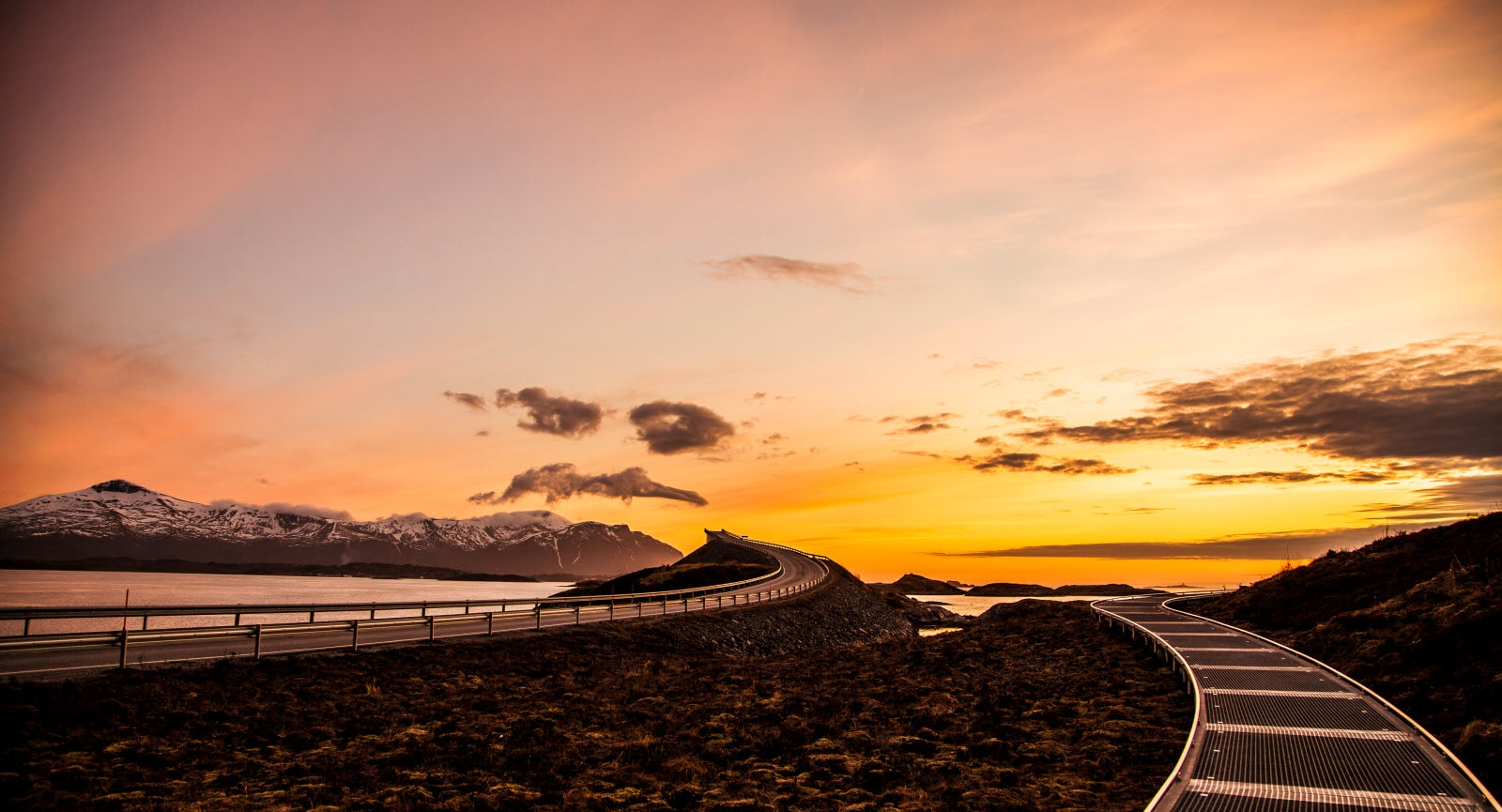 A beautiful sunset at the Atlantic Road in Norway, This road is one of Norways most known pieces of road.