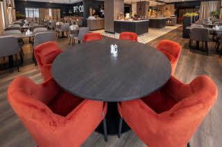 round table at restaurant at scandic harstad in norway