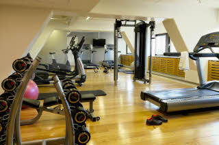 Gym of  Scandic Copenhagen with training equipment