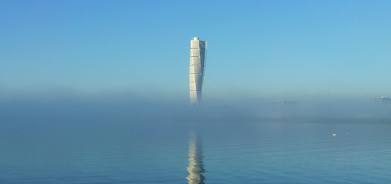 Turning Torso in fogg. Malmo in Sweden.