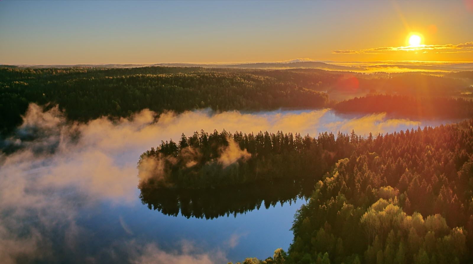 Foggy aerial view of the Aulanko nature reserve park in Finland.