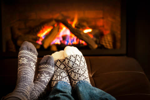 Feet, Socks, Fireplace