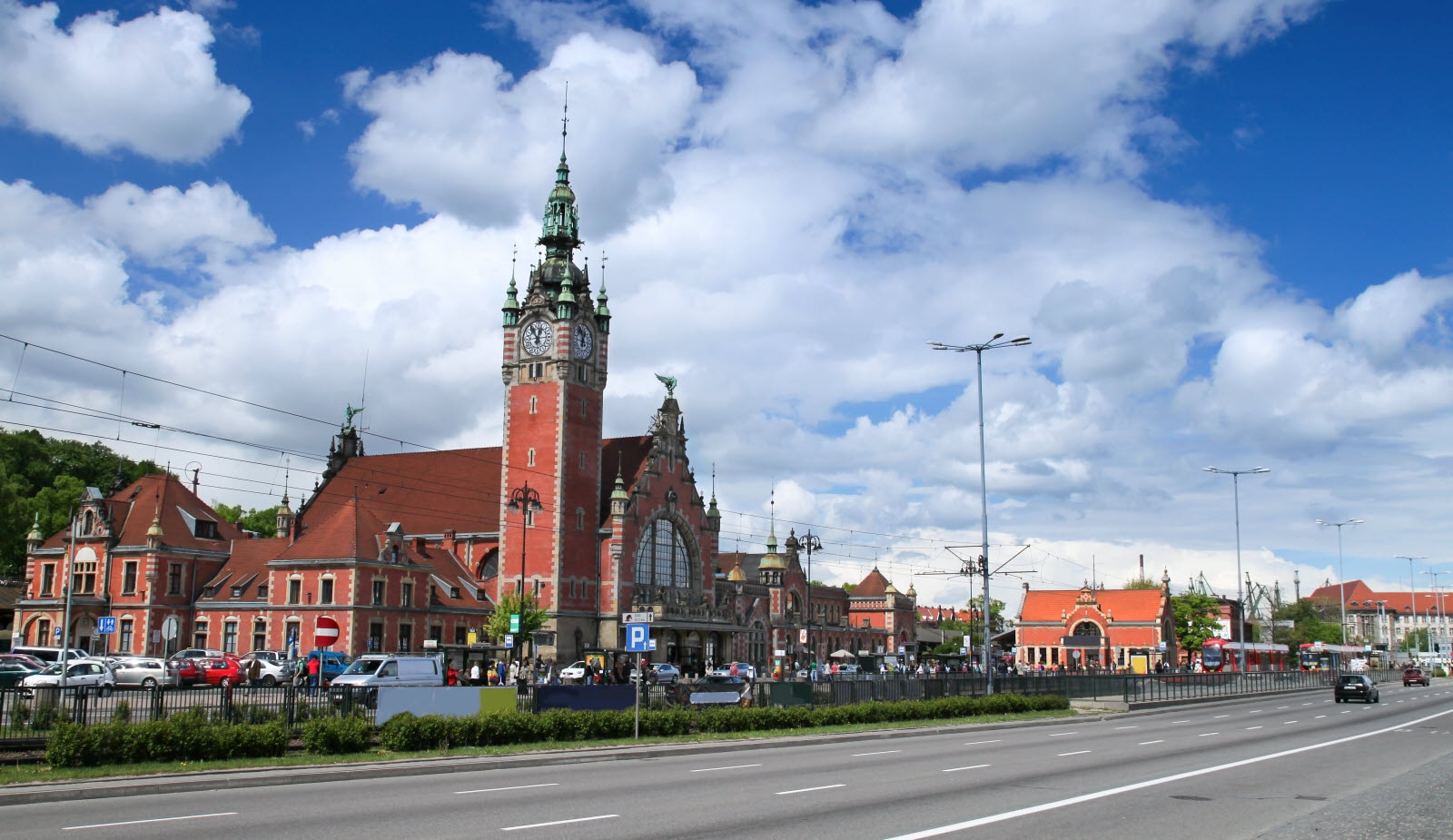 Historic railway station in Gdansk, Poland