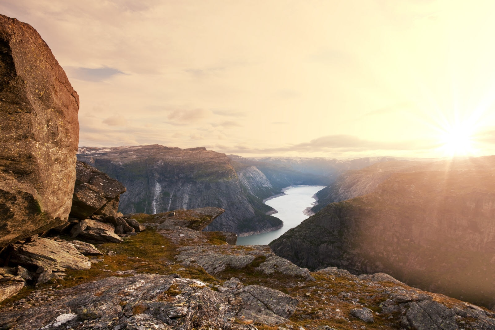 Sunset over the mountains at Trolltunga in Norway.