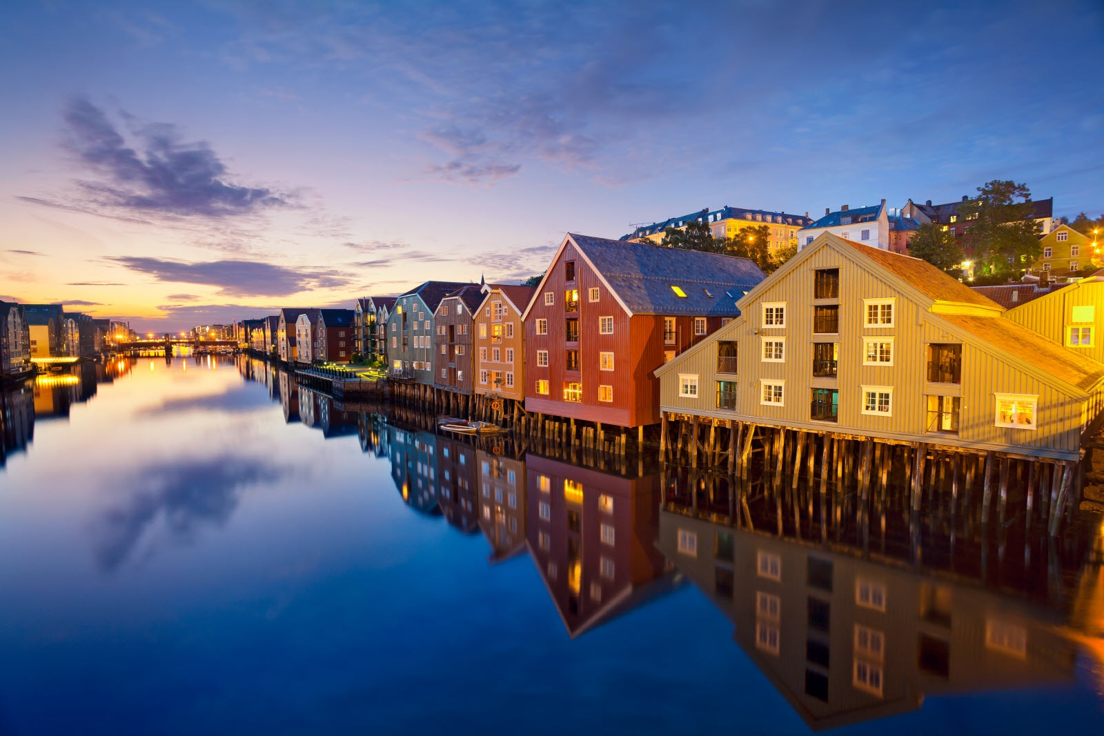 Houses, Row, Harbor, Sunset