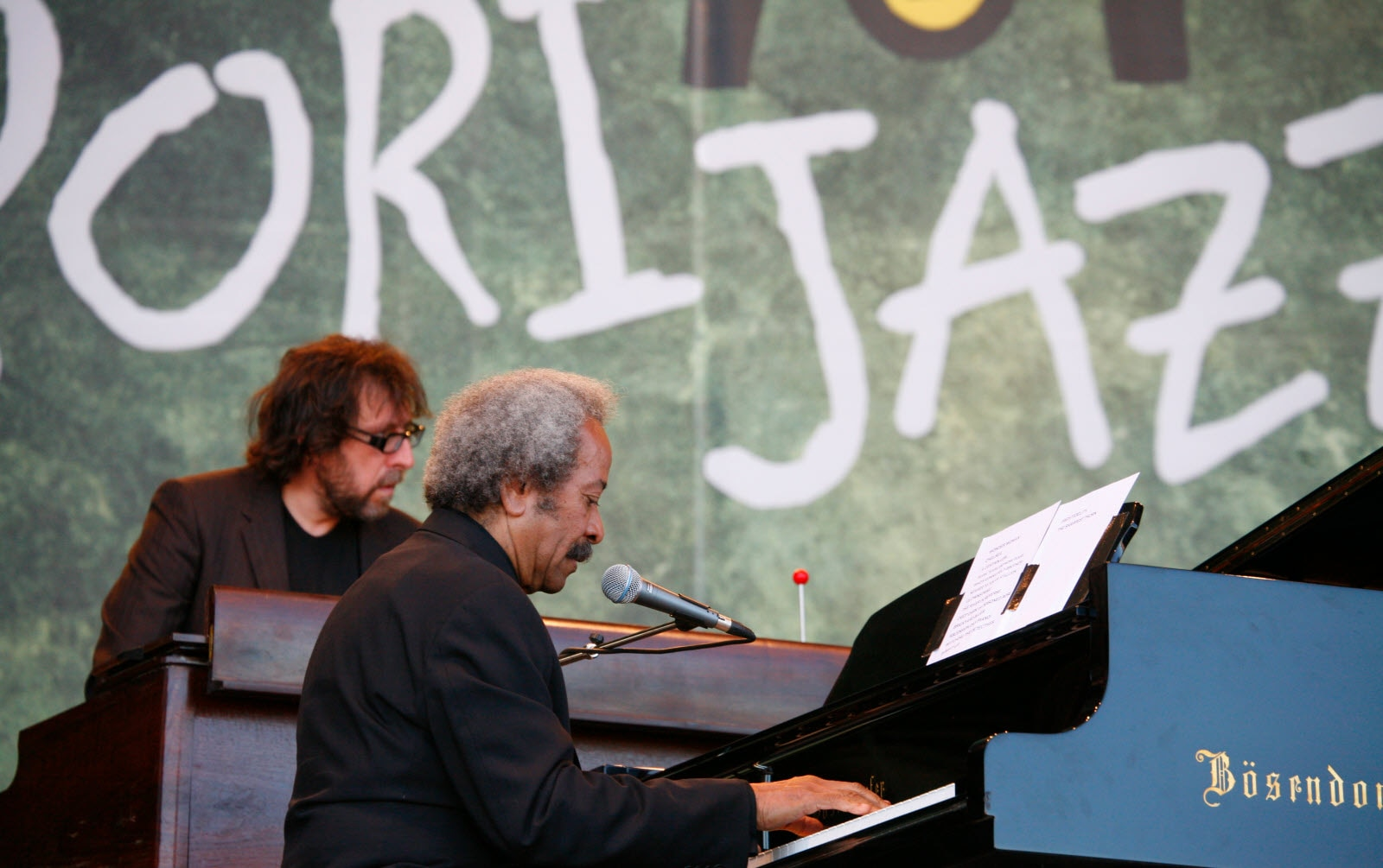 Steve Nieve and Alain Toussaint performing with Elvis Costello at Pori Jazz, Finland, July 21, 2007. Tim Bird.