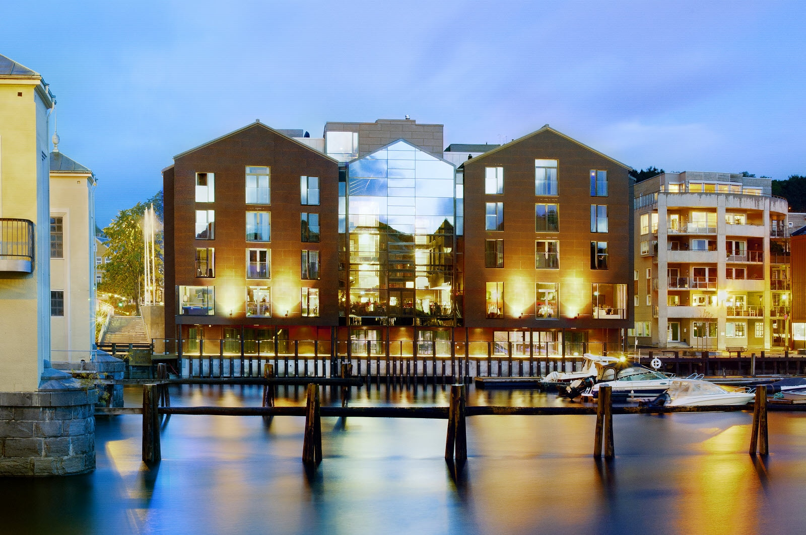 Scandic Bakklandet, Trondheim, exterior, night time