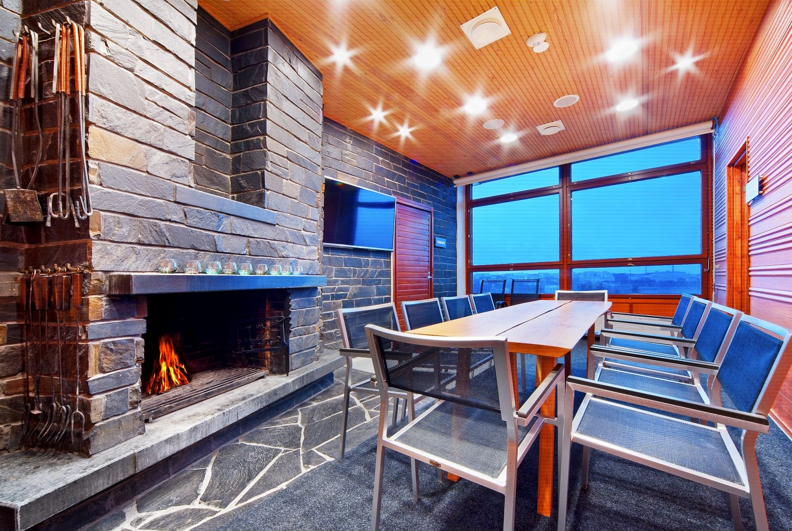 Sauna, fireplace